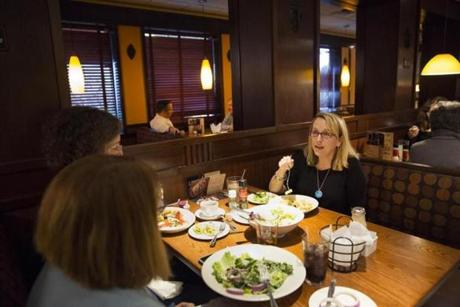 Linda Downey met with a support group over lunch. Ms. Downey' daughter has anorexia and their insurance company has been denying them coverage after a stay at a residential treatment facility in Arizona.